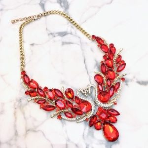 Cherryl's Jewelry - Red Swan Crystal Statement Necklace
